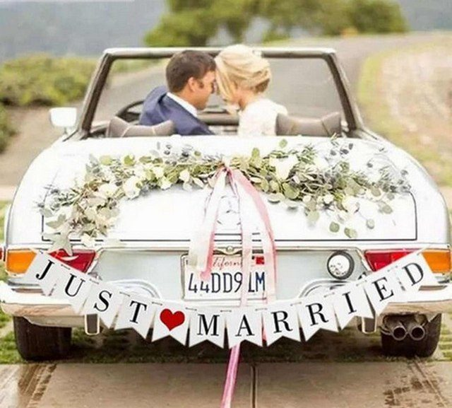 menyasszonyi autó díszítés otthon